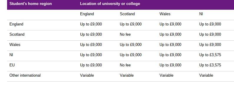 university degree fee