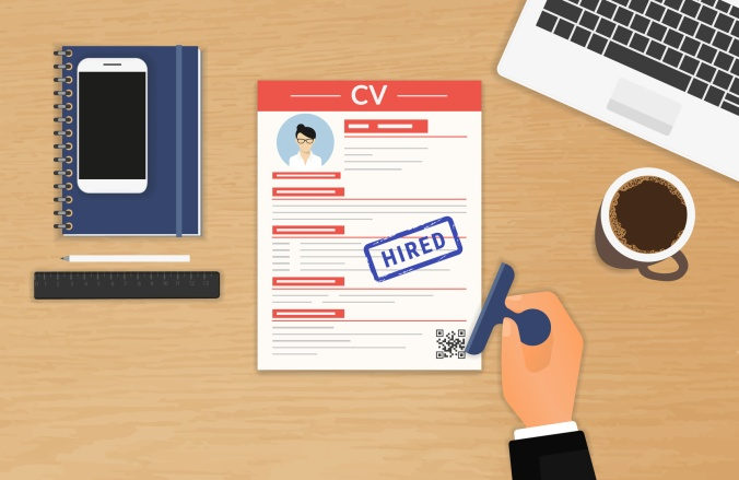 Businessman accepted CV sitting in the office